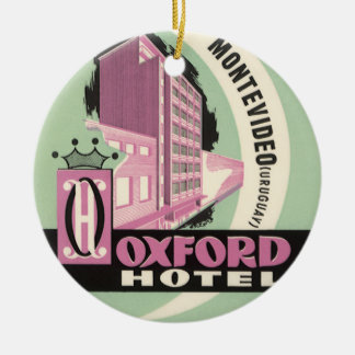 Vintage Travel, Oxford Hotel, Montevideo, Uruguay Round Ceramic Ornament