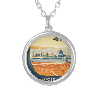 Vintage Travel Palestine Silver Plated Necklace