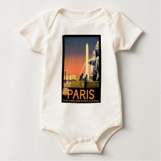 Vintage Travel Paris France Baby Bodysuit