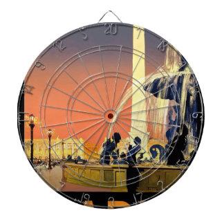 Vintage Travel Paris France Dartboard