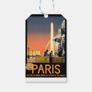 Vintage Travel Paris France Gift Tags