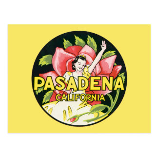 Vintage Travel, Pasadena California, Lady and Rose Postcard