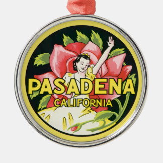 Vintage Travel, Pasadena California, Lady and Rose Silver-Colored Round Ornament