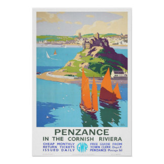 Vintage travel,Penzance. Poster