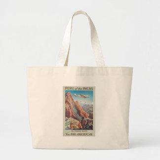 Vintage Travel Peru Large Tote Bag