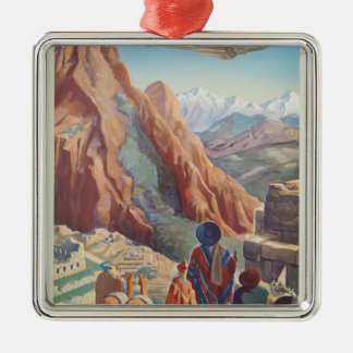 Vintage Travel Peru Metal Ornament