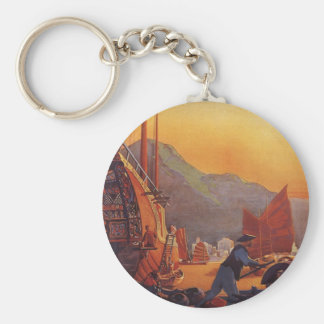 Vintage Travel, Plane Over Junks in Hong Kong Basic Round Button Keychain