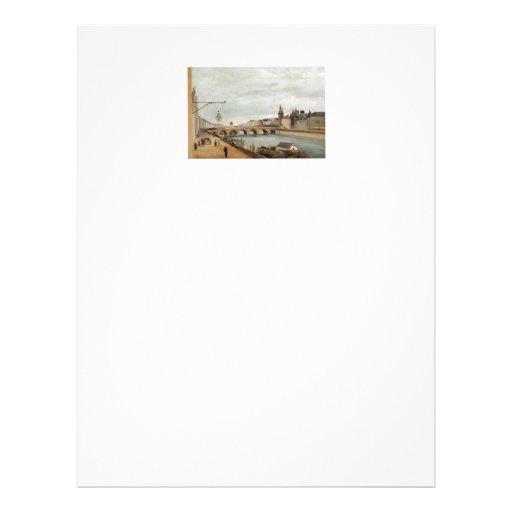 Vintage Travel Pont au Change France Personalized Letterhead
