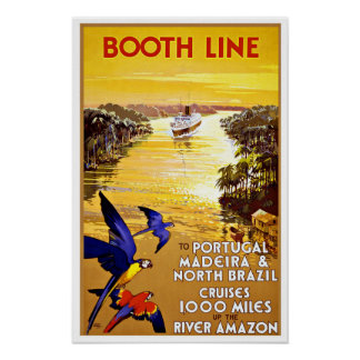 Vintage Travel Portugal to Amazon by Cruises Poster