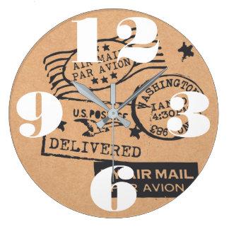 Vintage Travel Postage Stamps Large Clock