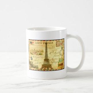 Vintage travel postcard Paris Eiffel Tower Basic White Mug