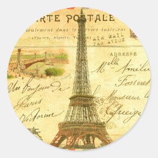 Vintage travel postcard Paris Eiffel Tower Round Sticker