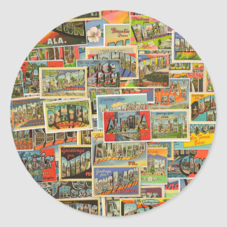 Vintage Travel Postcards Collage Stickers