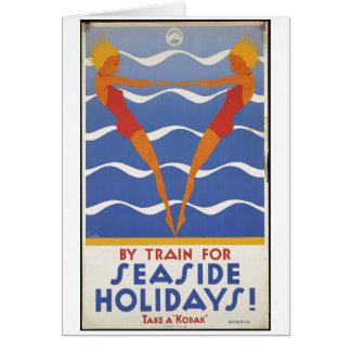 Vintage Travel Poster Ad Retro Prints Greeting Card