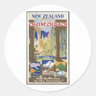 Vintage Travel Poster Ad Retro Prints Round Sticker