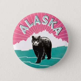 Vintage Travel Poster, Alaska Black Bear in Snow 2 Inch Round Button