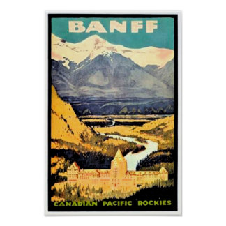 Vintage Travel Poster Banff Canadian Rockies