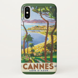 Vintage Travel Poster, Beach in Cannes, France iPhone X Case