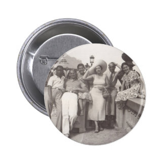 Vintage travel poster black and white photo pinback button