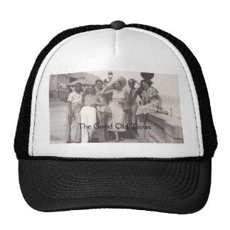 Vintage travel poster black and white trucker hat
