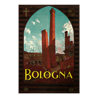 Vintage Travel Poster, Bologna, Italy Poster