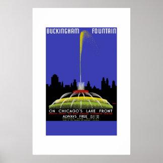 Vintage Travel Poster Buckingham Fountain Chicago