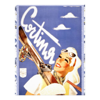 Vintage travel poster Cortina d ampezzo Custom Letterhead
