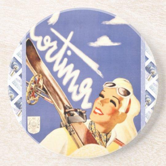 Vintage travel poster, Cortina d'ampezzo Coaster