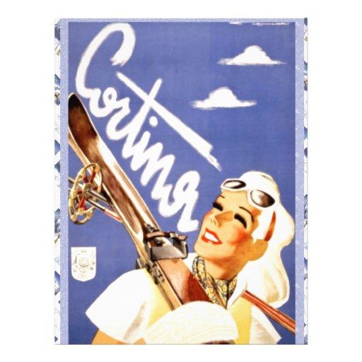 Vintage travel poster, Cortina d'ampezzo Custom Letterhead
