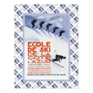 Vintage travel poster,Ecole de Ski Postcard