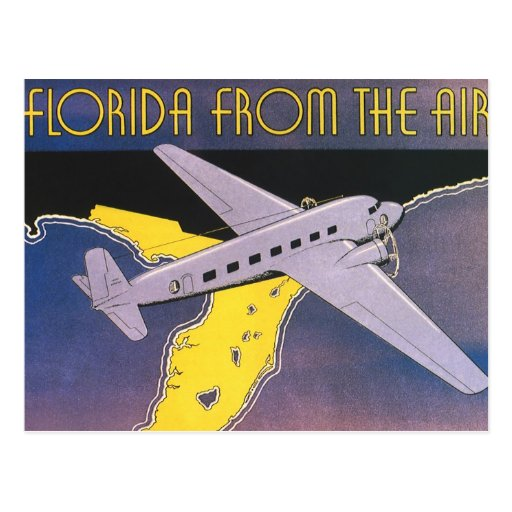 Vintage Travel Poster, Florida from Air Airplane Postcard