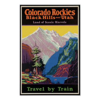 Vintage Travel Poster for the Rocky Mountains
