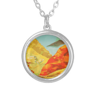 Vintage Travel Poster Japan Silver Plated Necklace