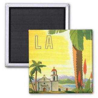 Vintage Travel Poster, Los Angeles, California Square Magnet