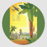 Vintage Travel Poster, Los Angeles, California Round Sticker