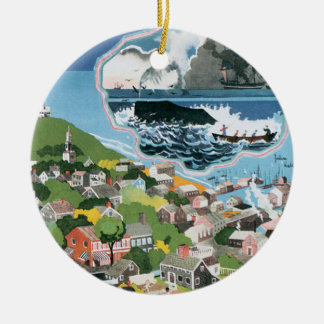Vintage Travel Poster, Map of Nantucket Island, MA Round Ceramic Ornament