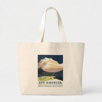 Vintage Travel Poster Montana America USA Large Tote Bag