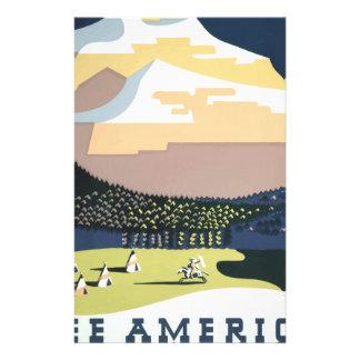 Vintage Travel Poster Montana America USA Stationery