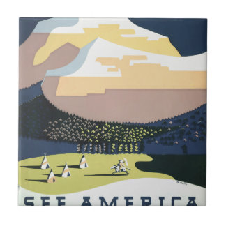 Vintage Travel Poster Montana America USA Tile