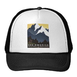 Vintage-Travel-Poster-Montana-America-USA Trucker Hat