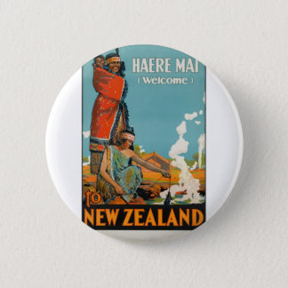 Vintage Travel Poster New Zealand 2 Inch Round Button