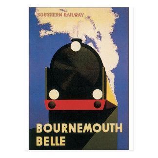 Vintage Travel Poster of Bournemouth Belle Train Postcard
