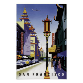 Vintage Travel Poster of San Francisco Chinatown