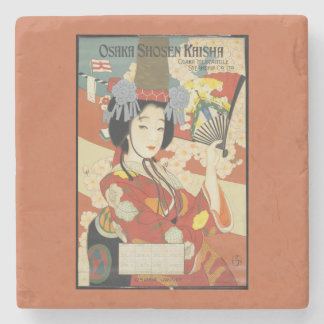 Vintage Travel Poster Osaka Japan Stone Coaster