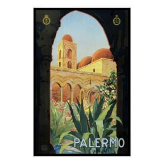Vintage Travel Poster, Palermo, Sicily, Italy Poster