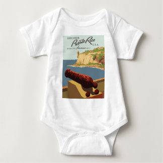 Vintage Travel Poster Puerto Rico Baby Bodysuit