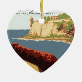 Vintage-Travel-Poster-Puerto-Rico Ceramic Heart Ornament