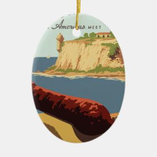 Vintage Travel Poster Puerto Rico Ceramic Ornament