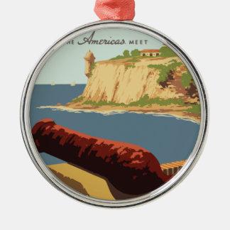 Vintage Travel Poster Puerto Rico Metal Ornament
