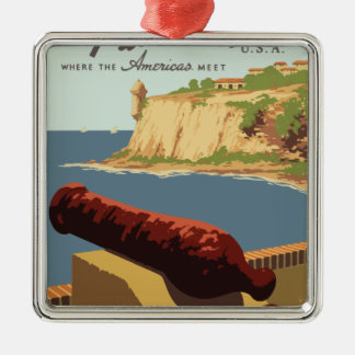 Vintage Travel Poster Puerto Rico Metal Ornament